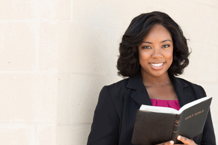 image of woman with Bible Study