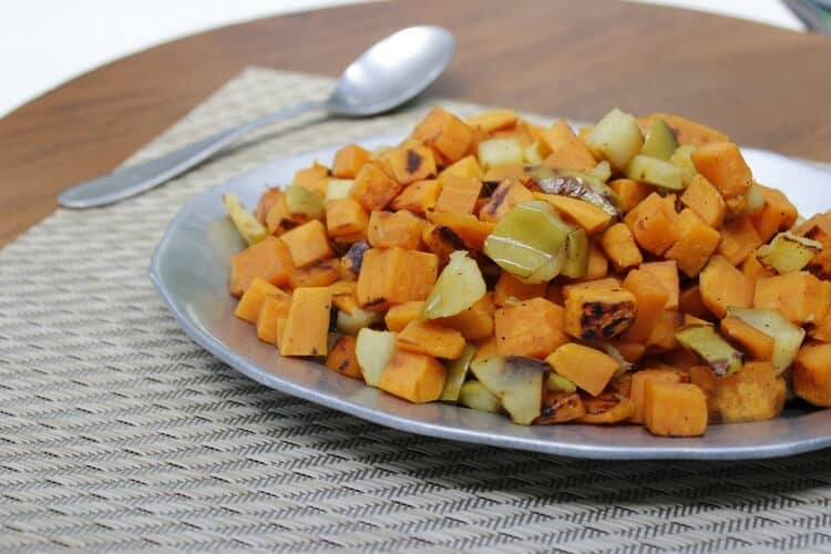 These sweet potatoes suit any meal of the day! Coconut oil and apple & sweetness & cayenne add a bit of adjustable spiciness!
