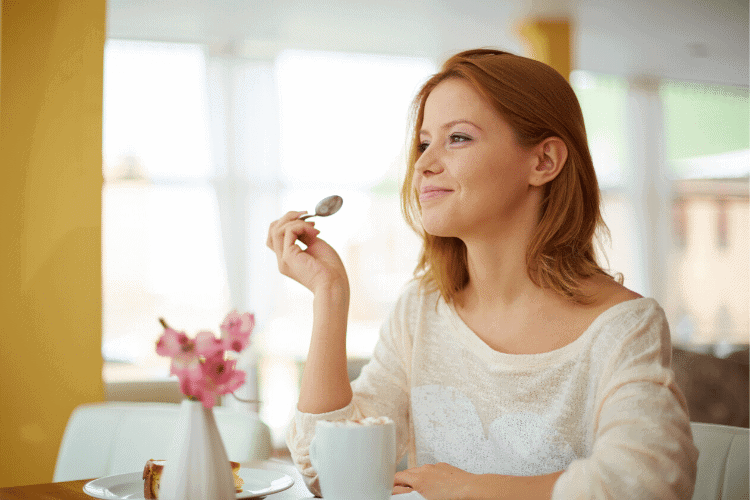 happy woman eating healthy food