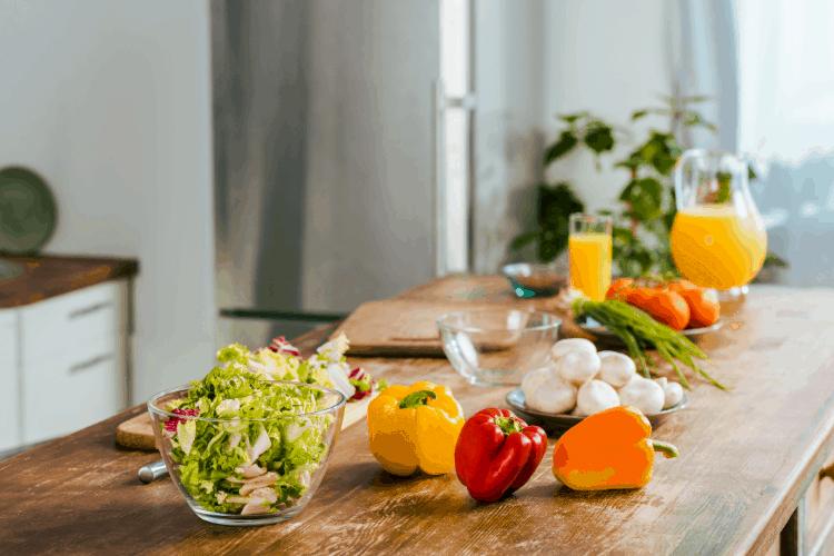 healthy food on a prep table