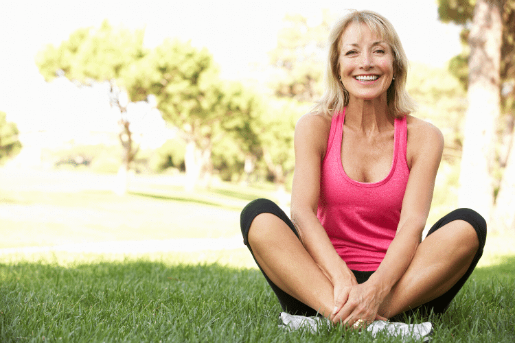 Smiling lady prepared to exercise