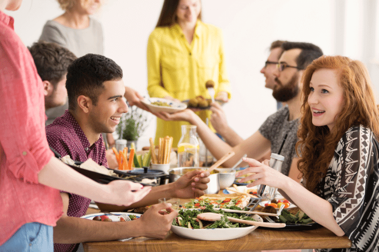 group of people fellowshipping with Godly food